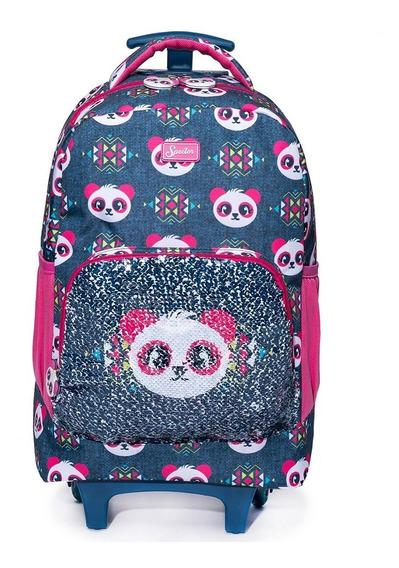 Mochila De Rodinhas Spector Panda Escolar Infantil Meninas