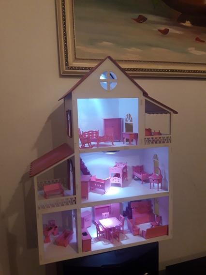 Casa Casinha Polly Brc/rosa+leds+30 M.rosa Tudo Montado+fret