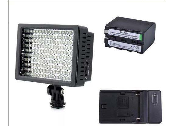 Kit Iluminador Led Hd 160 + Bateria 7200 Mah + Carregador