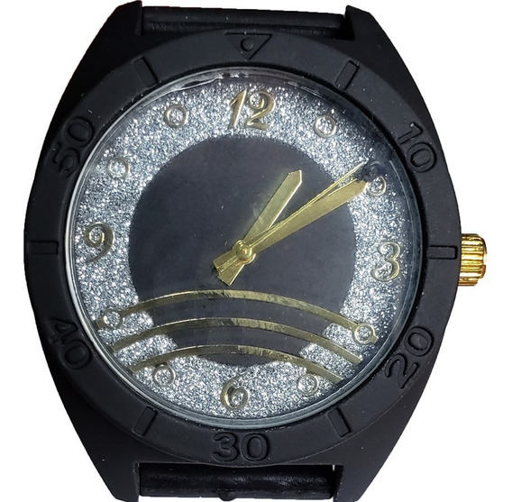 Relógio Feminino Preto Pulseira Silicone + Caixa Acrílico