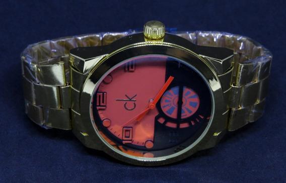 Relógio Dourado Prata Aço Grande Pesado Barato Masculino Top