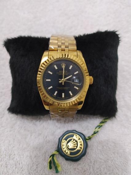 Relógio Feminino Rolex Dourado / Preto A Prova D
