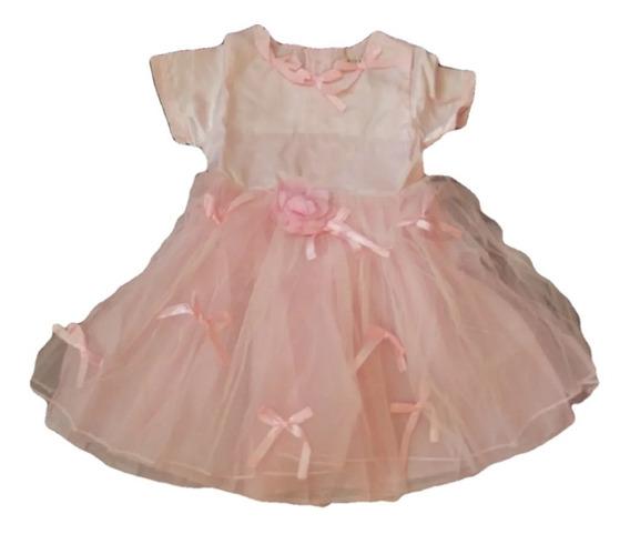 Vestido Infantil Cetim Festa Rosa Laçinhos Tam 4 Ou 6
