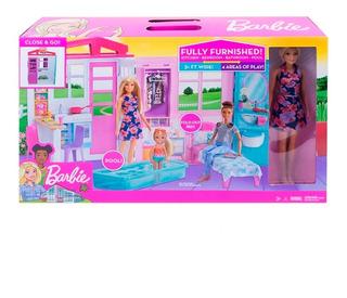Barbie Nueva Casa Glam Portátil Incluye Muñeca