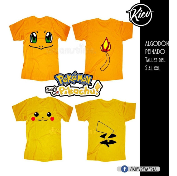 Remeras Pokémon - Carmander Pikachu