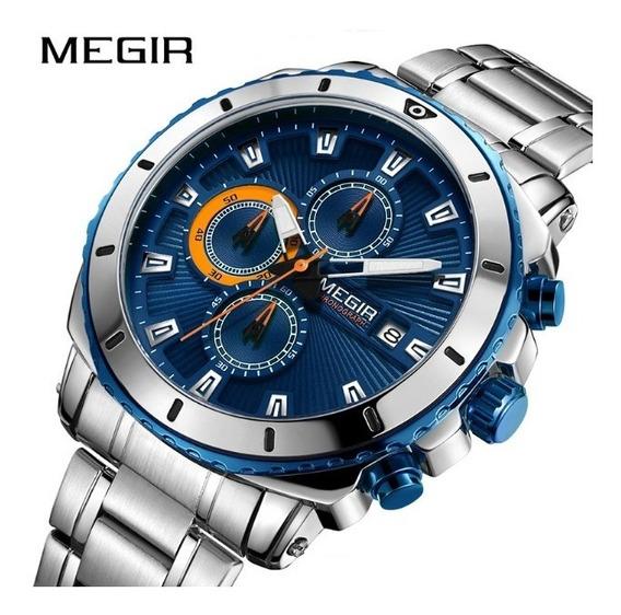 Relógio De Pulso Masculino Social Aço Inoxidável Azul Megir