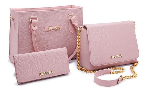 Bolsa Feminina Kit Com 3 Bolsas Grande Carteira G. Costa
