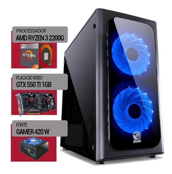 Pc Gamer Ryzen 3 2200g + Hd 500gb + 8gb Ddr4 + Vga Gtx 550ti