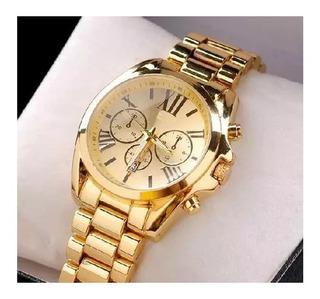 Relógio Masculino Aço Inoxidável Pulseira Metal Dourado