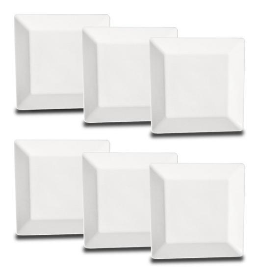 Set Platos Postre Cuadrados De Porcelana Oxford X6 Blanco