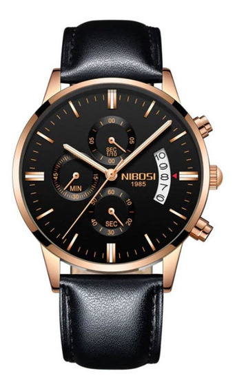 Relógio Masculino Nibosi Dourado Couro 100% Original