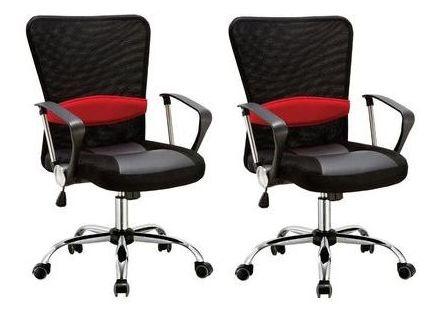 Kit Com 2 Cadeiras De Escritório Giratória Preta - Fortt