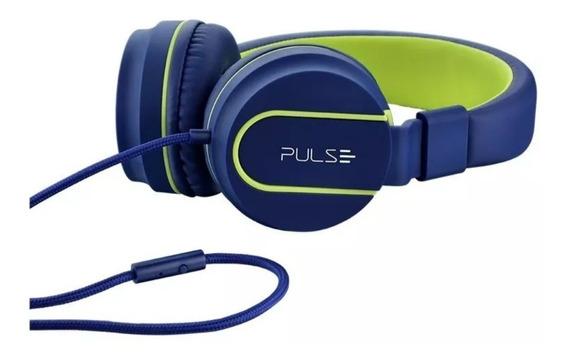 Headphone Pulse Ph 162 Com Fio Azul E Verde