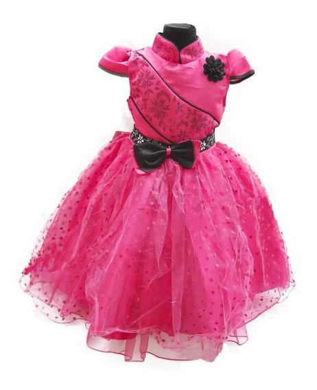 Vestido Nena Fiesta Manguitas Cortas Tul Corazones Fucsia