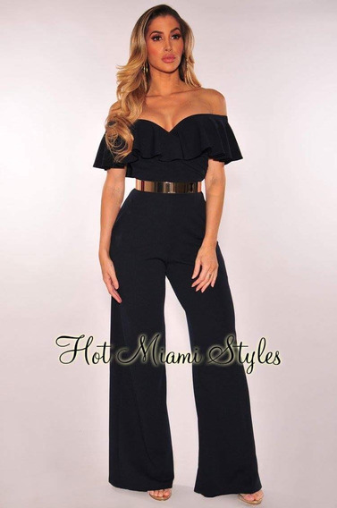 Off The Shoulder Glam Jumpsuit Negro. Talla: Chico