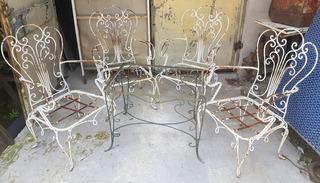 Juego Jardín Sillon Mesa-mueble Antiguo No Flor De Liz-rgbiz