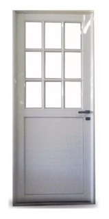 Puerta Aluminio Blanco 1/2 Vidrio Repartido Con Vidrios 4mm