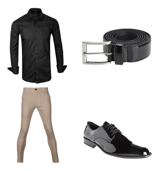 Chupines Con Camisa Cinto Y Zapatos De Vestir Hombre Import