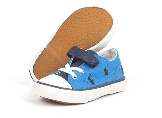 Tenis Polo Ralph Lauren Para Niño Azul Con Multi Ponys Azul