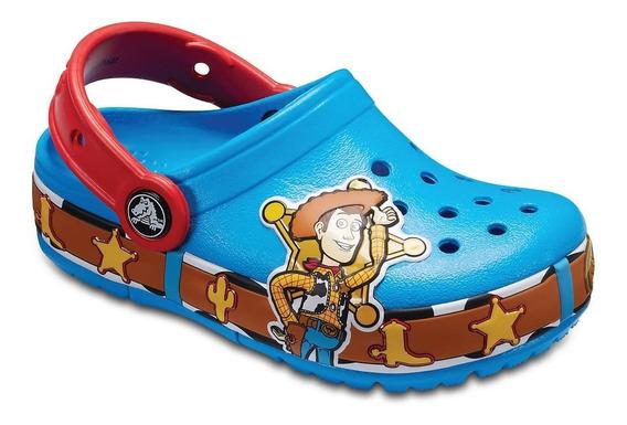 Crocs Originales Fl Woody Luz C456 Azul Toy Story Asfl70