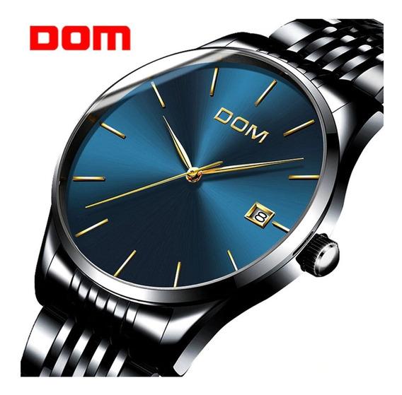 Relógio Masculino Dom M-11-a Aço Inoxidável Marcador De Dia
