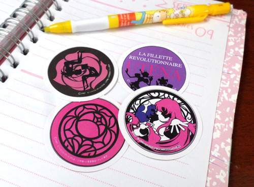 Set De 4 Stickers Circulares Anime Revolutiobary Girl Utena