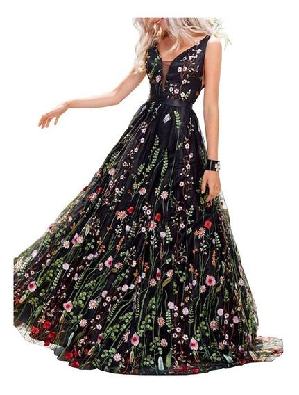 Vestido De Noche Con Estampados Florales