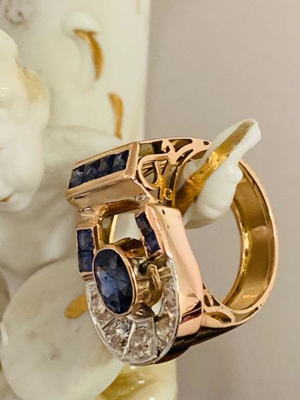 Anel Ouro 18k-7.9gr.24mm.c/diamantes E Safiras.