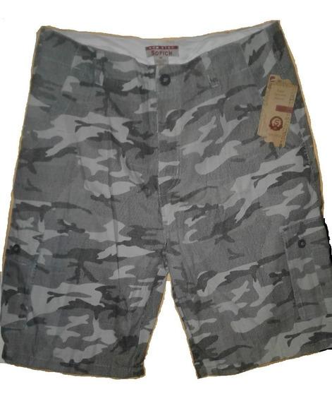 Short Bermuda Camuflaje Verde Militar Talla 38 Nuevo