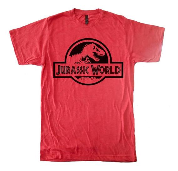 Playera Jurassic Park Corte Ringer Jaspeado