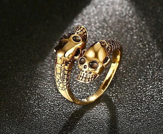 Anillo Oro Laminado 18k Ajustable Gothic Skull