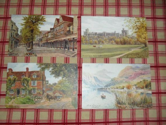 Lote 4 Postales Con Ilustraciones De Gran Bretaña