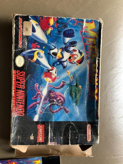 Mega Man X Original Playtronic Caixa E Manual Snes Nintendo