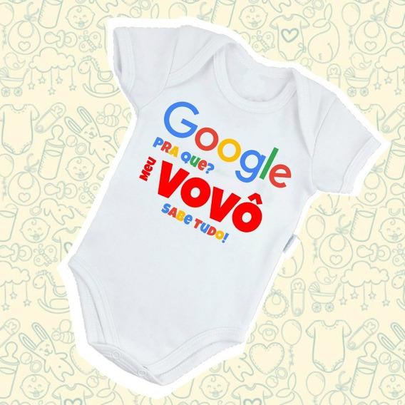 Body Bebê Google Meu Vovô Sabe Tudo Estampa Diferente B483br
