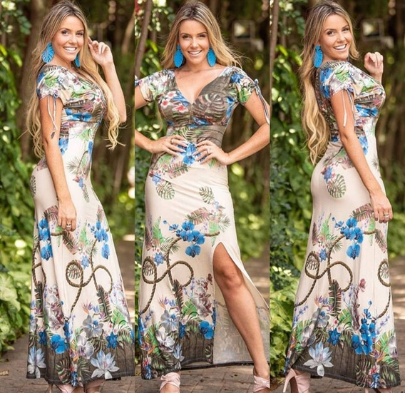 Vestido Feminino Estampado Decote V Roupas Fenininas Cd0v