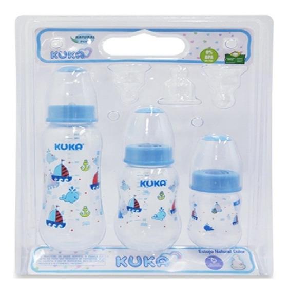 Kit De 3 Mamadeiras Azul Bebê Com Bico Ortodôntico Da Kuka