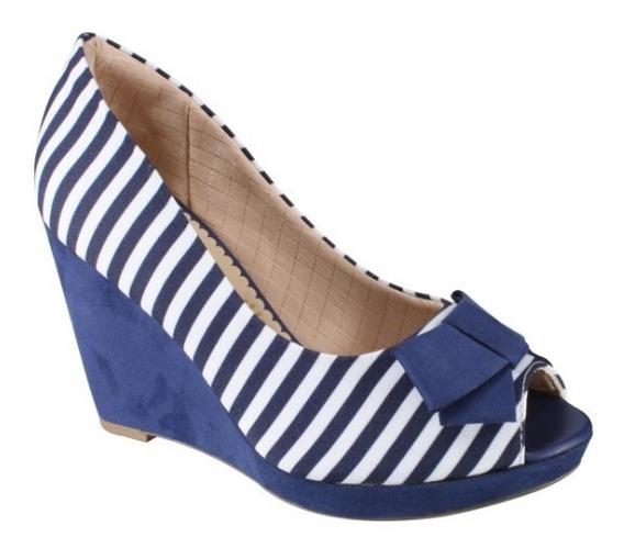 Sapato Piccadilly Plataforma Peep Toe 729002 - Azul/branco