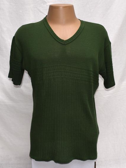 Camisa Masculina De Tricô De Linha Verde Gola V Tamanho G