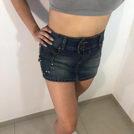 Mini Saia Jeans Com Detalhe Feminina
