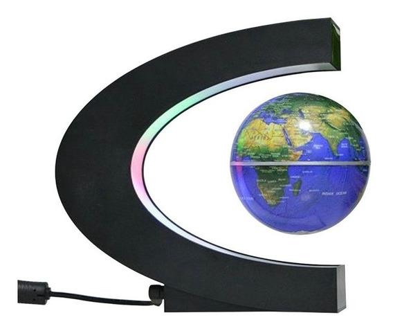 Globo Flutuante Magnetico De Led Azul Planeta Terra De Mesa