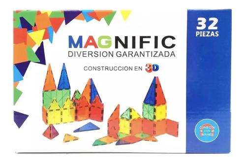 Imagen 1 de 11 de Bloques Imanes Didáctico 32 Piezas Magnific Educativos Promo