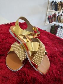 Sandálias Feminina Dourada Com Pedrarias