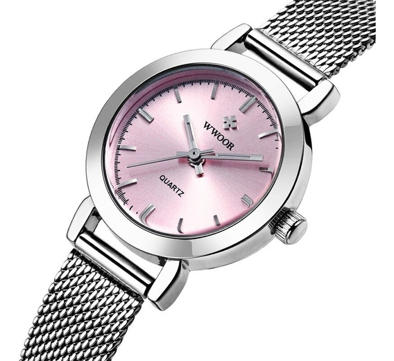 Relógio Feminino Prata E Rosa Original Luxuoso C/ Caixa