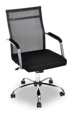 Cadeira De Escritório Com Tela Mesh Base Cromada Gira 360°