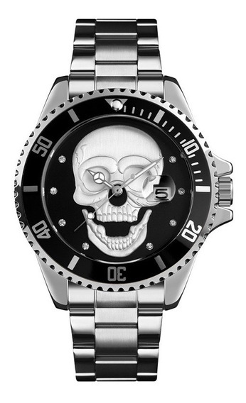 Reloj Skmei 9195 Hombre Craneo Calavera Skull Acero Inox