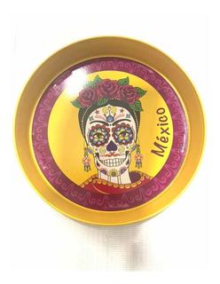 Charola Frida Calavera Día Muertos Para Cervezas Comida Rosa