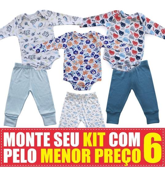 Body E Calça Para Bebe Em Suedine Maxi Baby Kit Com 6 Peças