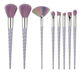 Set 8 Brochas Maquillaje Unicornio Arcoiris Con Envío Jkmx