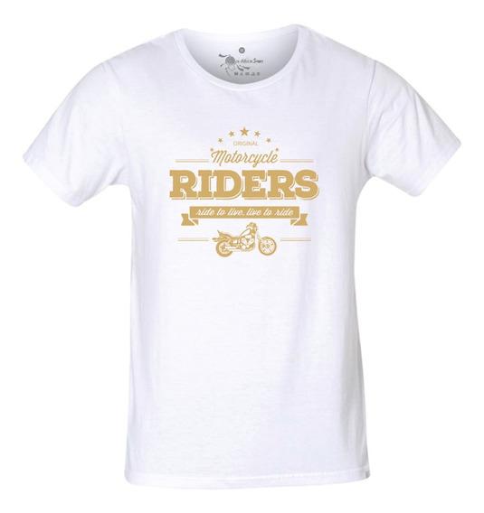Camiseta Do Bobber Motocicleta Estampa Dourada - Masculina