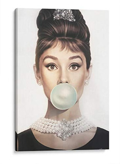 Cuadro Decorativo De Canvas (lienzo), Audrey Hepburn Bubble